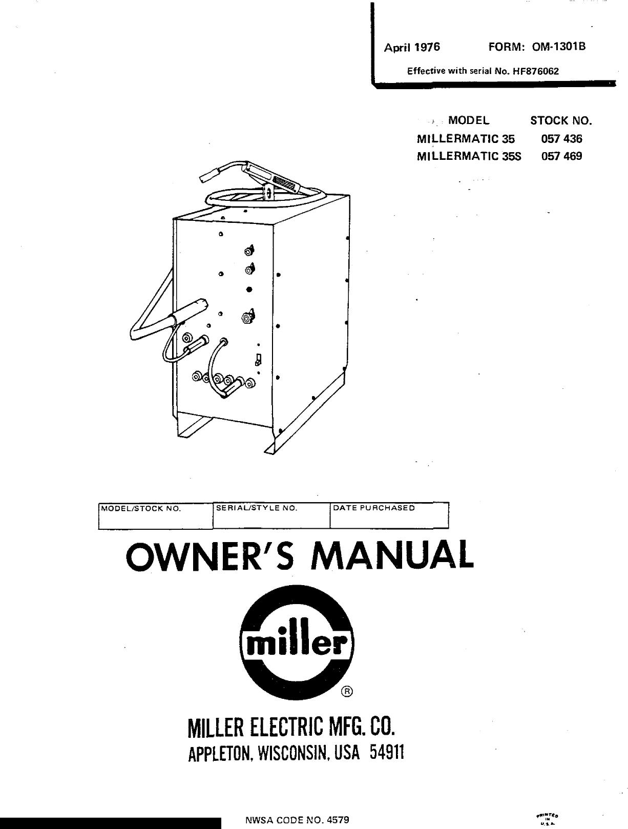Miller Electric Millermatic 35 Owners Manual ManualsLib