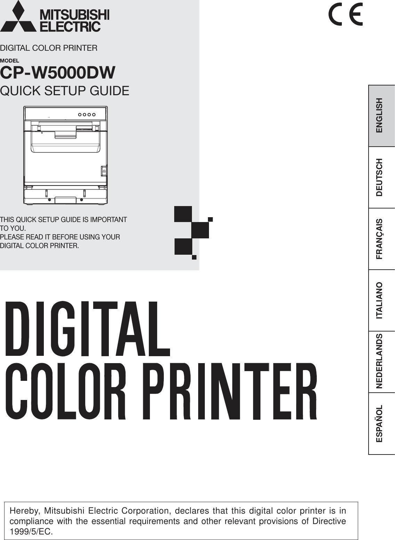 Mitsubishi Electric CP-W5000DW Digital Color Printer User