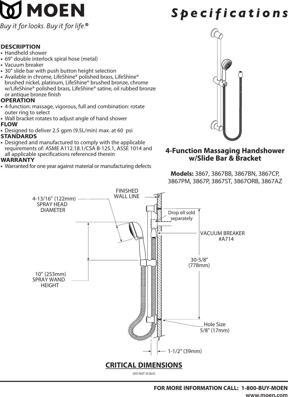 Moen 3867az Users Manual