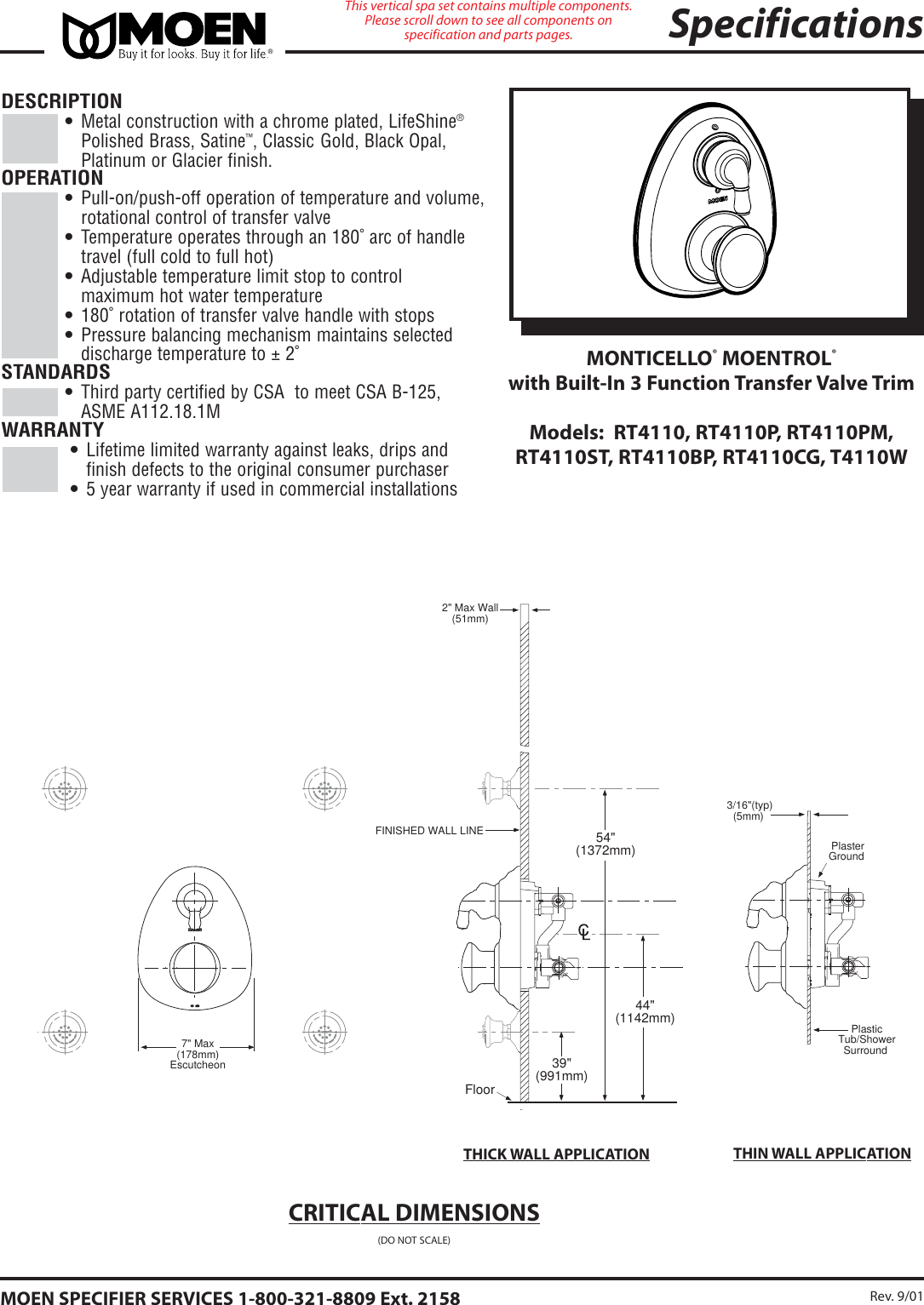 Moen Monticello Rt4110Cg Users Manual 243PMC