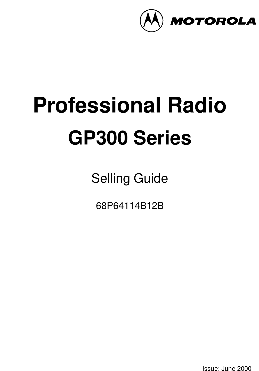 Motorola 68P64114B12B Users Manual GP300 Series