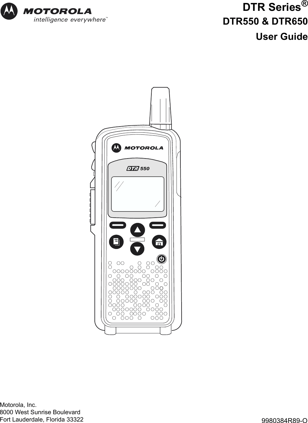 Motorola Dtr Series Dtr550 Users Manual 550 & DTR650 Radios