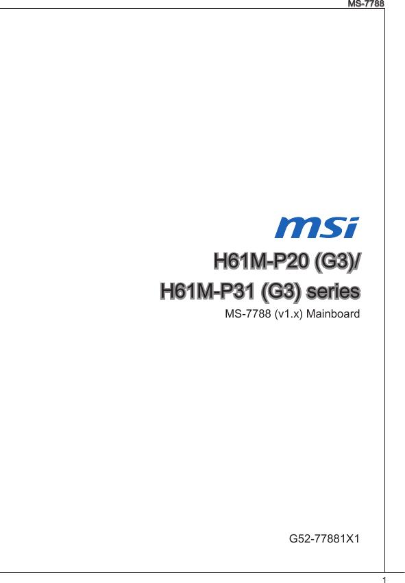 Msi H61M P31 W8 Owner S Manual