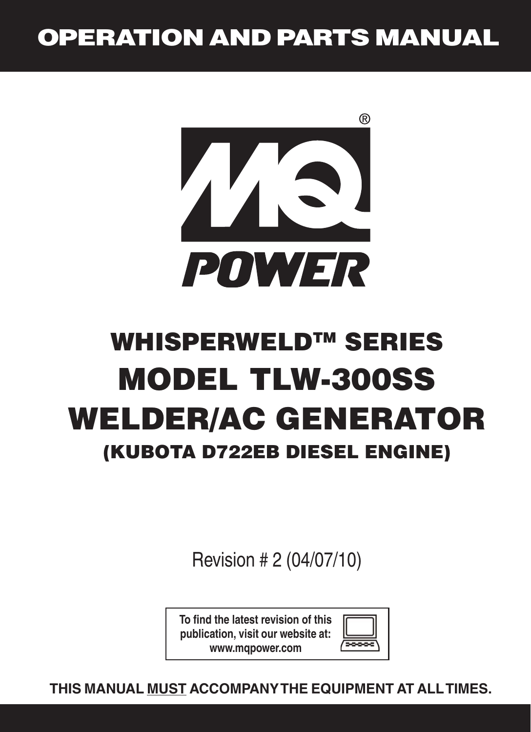 Multiquip Mq Power Whisperweld Welder Ac Generator Tlw