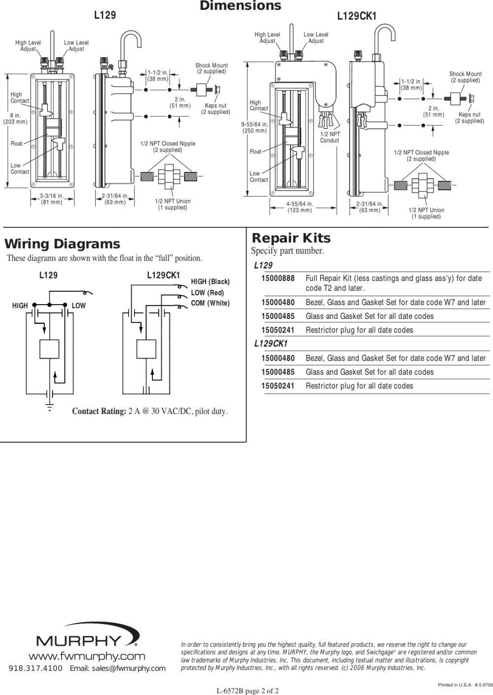 medium resolution of murphy lube level swichgage instrument l129 series users manual dual switch wiring diagram murphy switch wiring