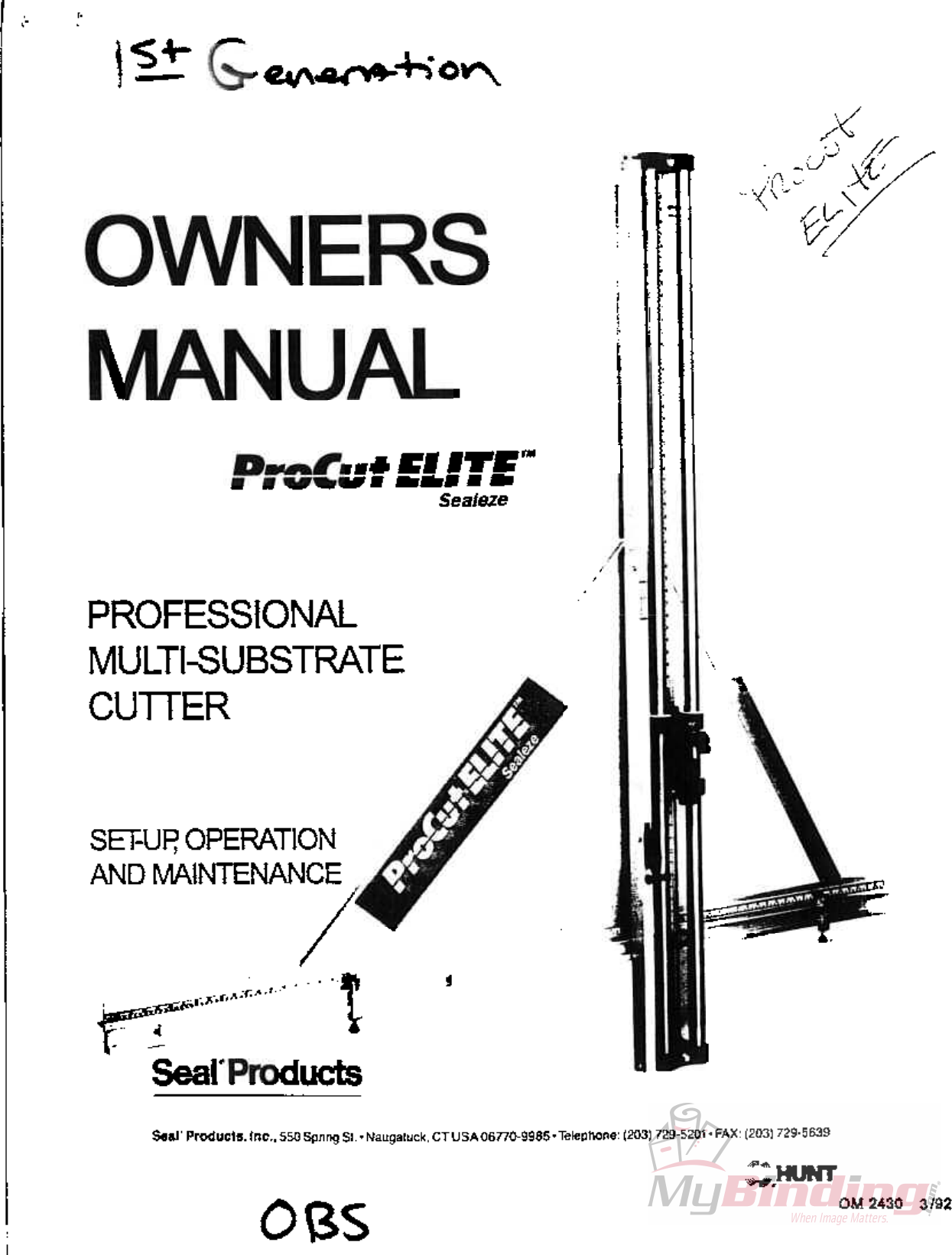 MyBinding Seal Procut Elite Manual User Pro Cut