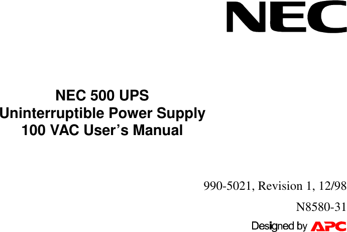 Nec 500 Ups Uninterruptible N8580 31 Users Manual 5021 1e