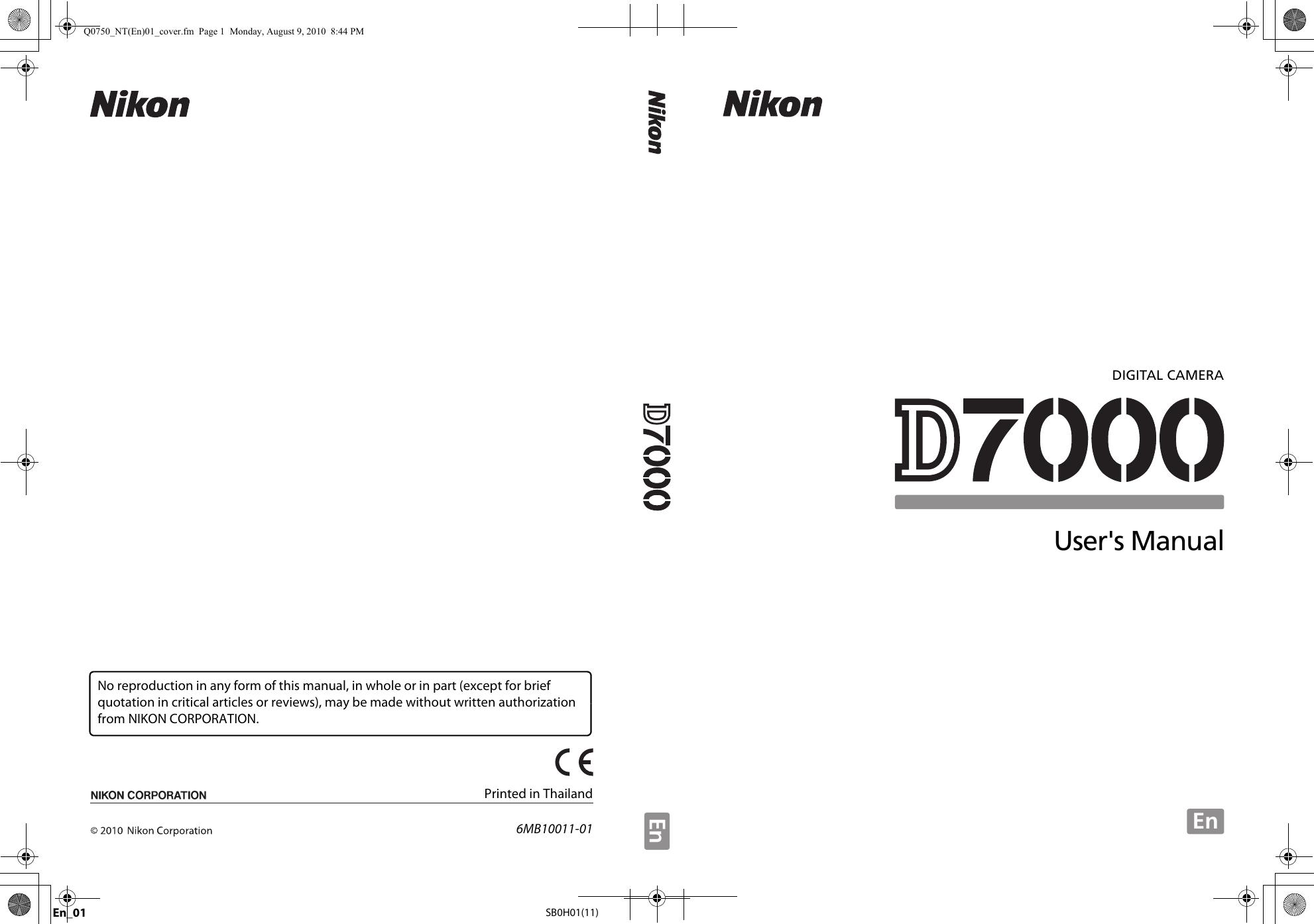 Nikon D7000 Users Manual