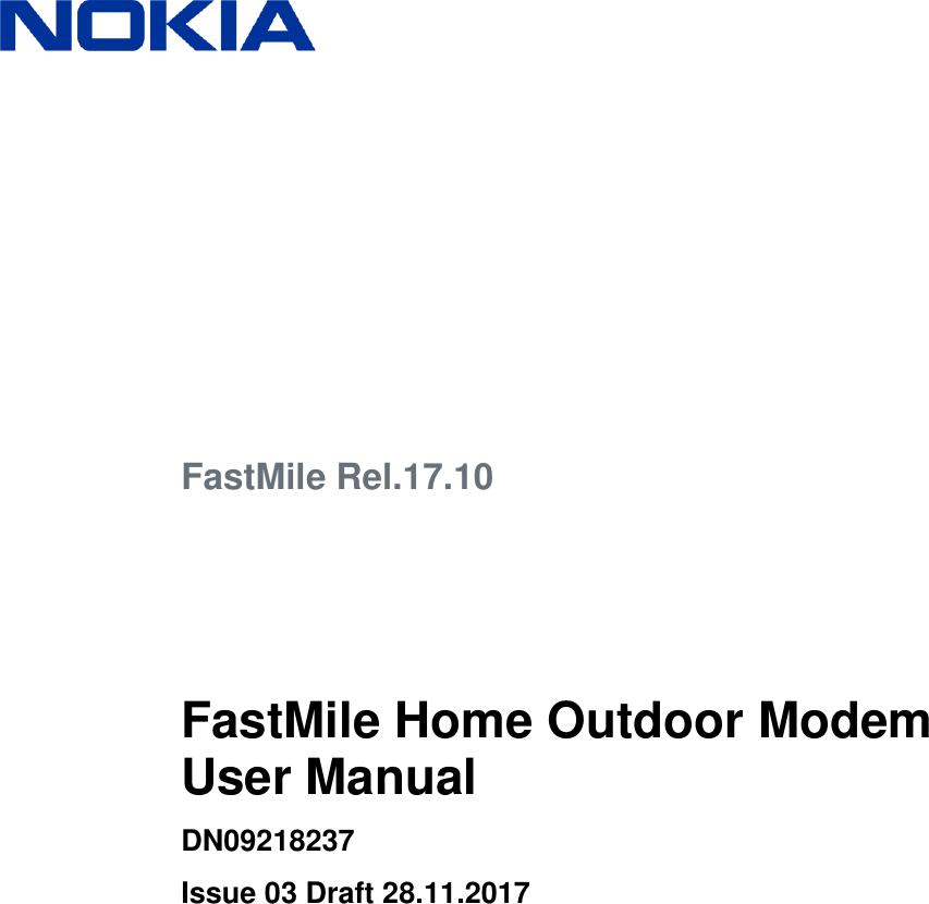Nokia Solutions and Networks FMHOMN0041 Home Outdoor Modem