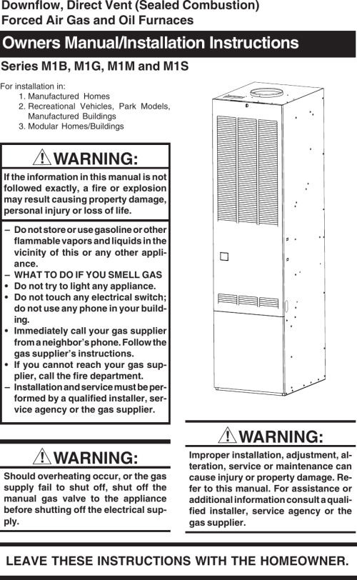 small resolution of nordyne forced air gas and oil furnace m1b users manual 708672 0 m1 series ii pmd