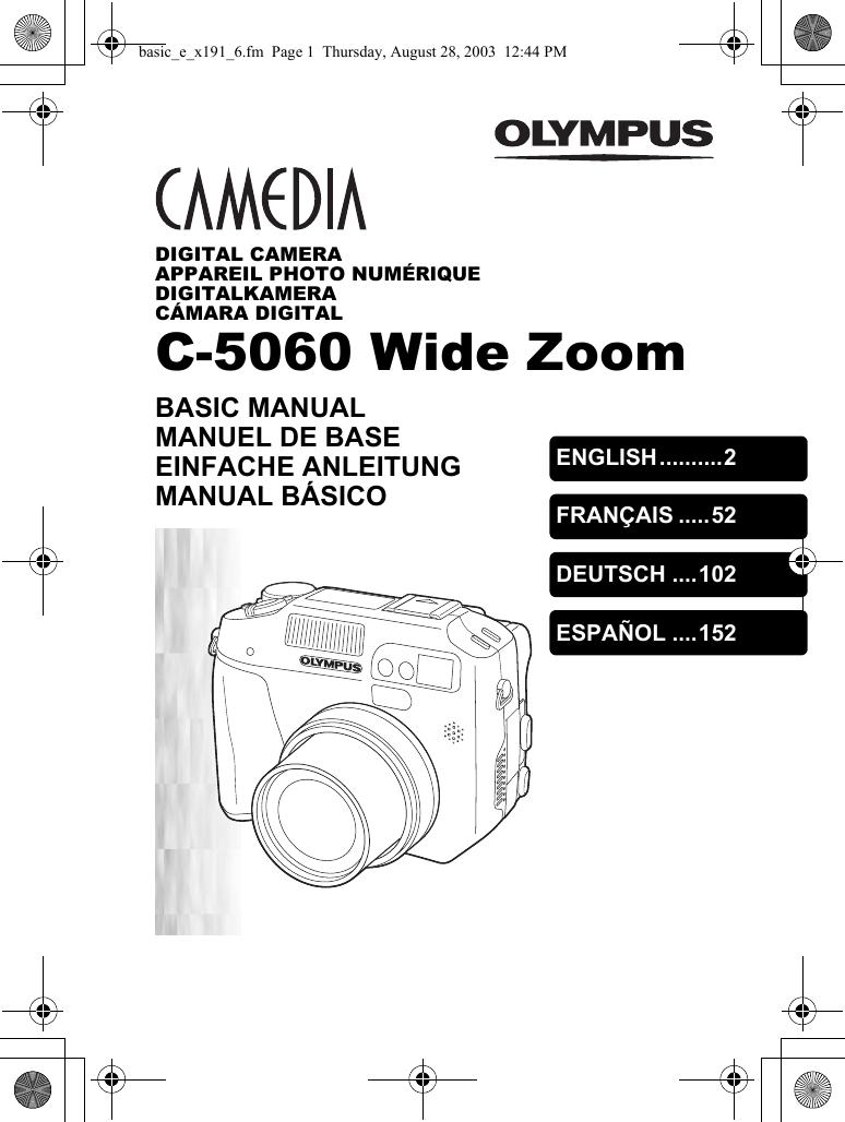Olympus Camedia C 5060 Wide Zoom Basic Manual