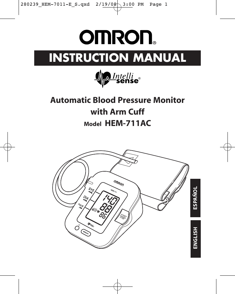 Omron Healthcare Intelli Sense Hem 711Ac Users Manual