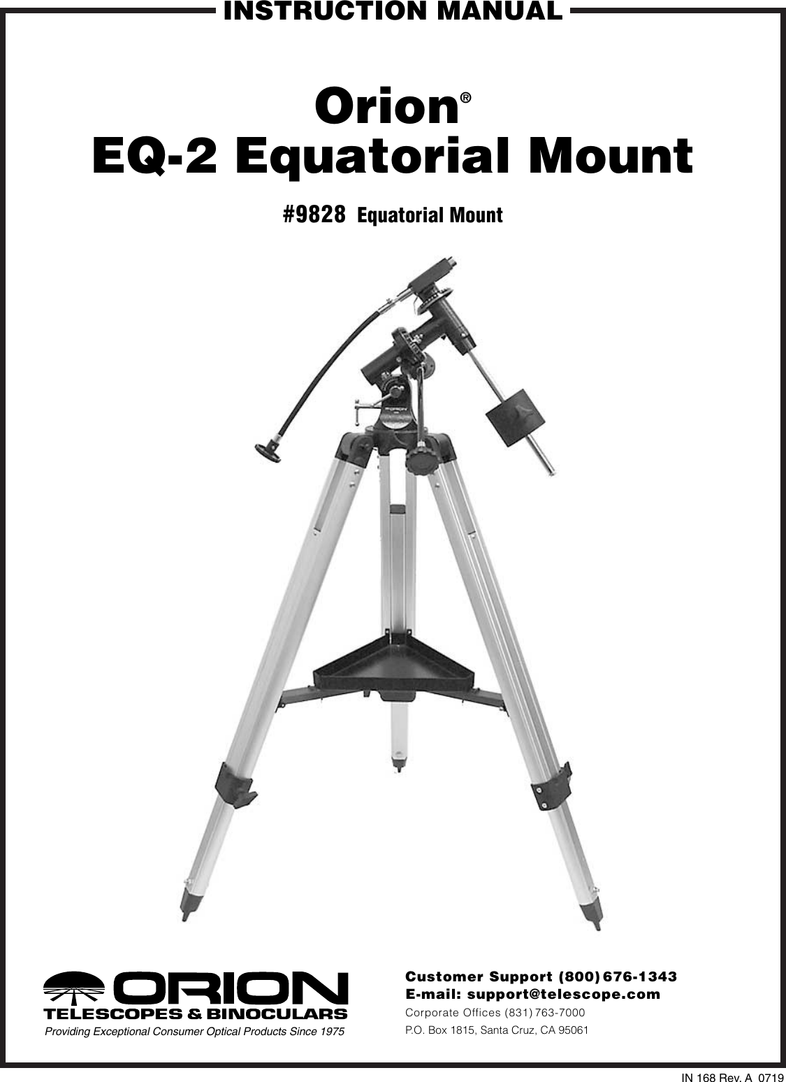 Orion Eq 2 Users Manual IN 168 RevA Mount