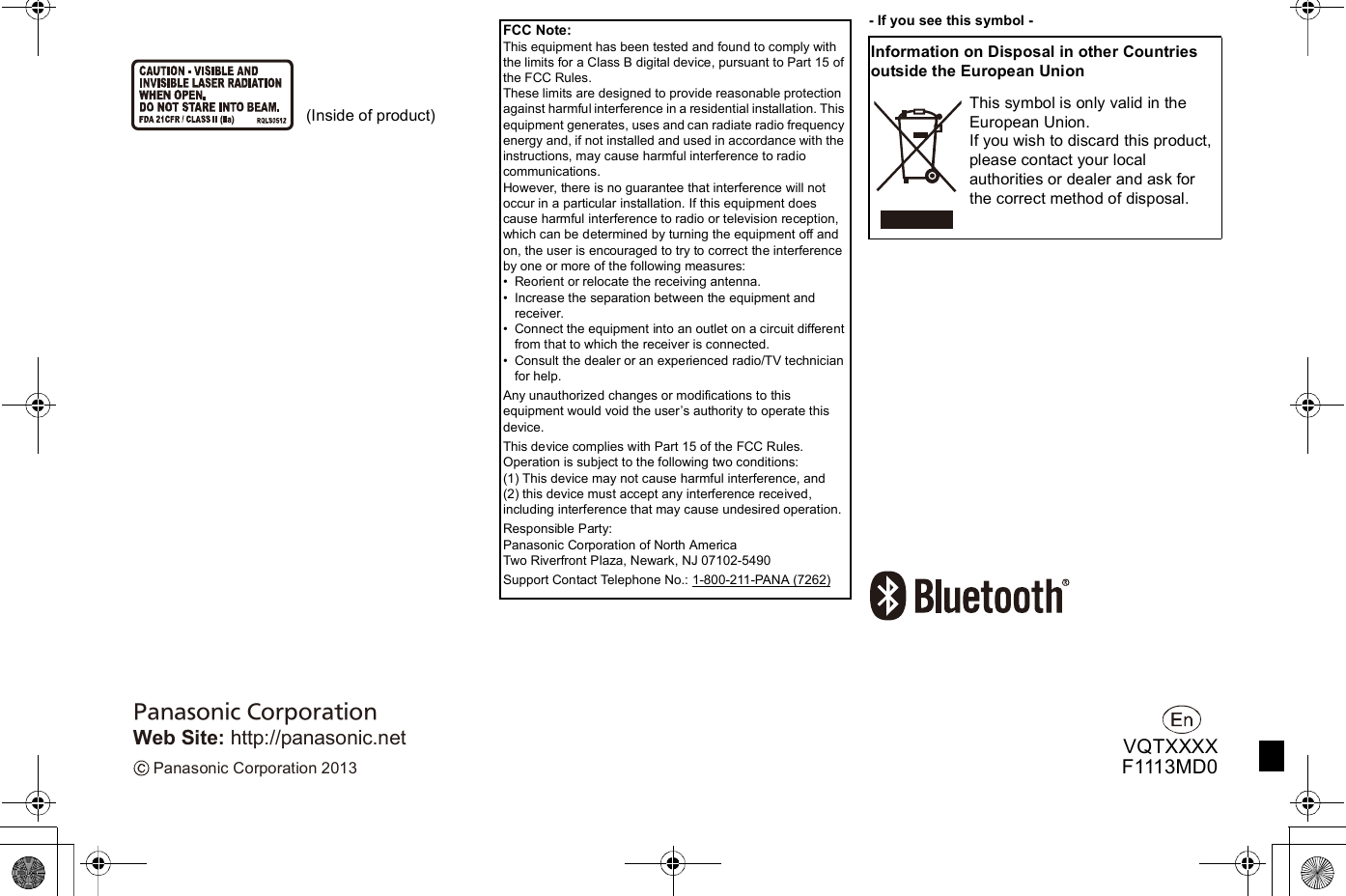 Panasonic of North America B21R1401 Bluetooth Module