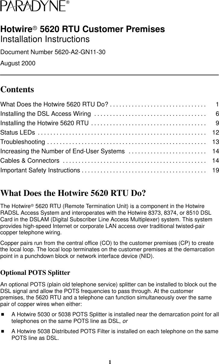 medium resolution of paradyne hotwirer 5620 rtu customer premises a2 gn11 30 users manual hotwire installation instructions