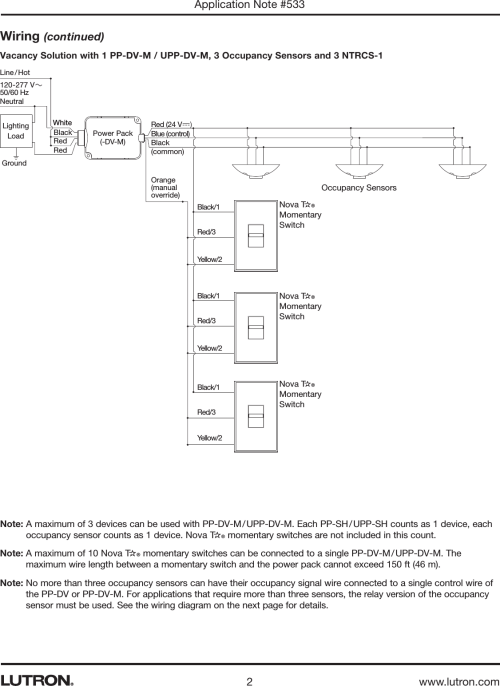 small resolution of page 2 of 4 vacancy solution with lutron wired occupancy sensors pp dv