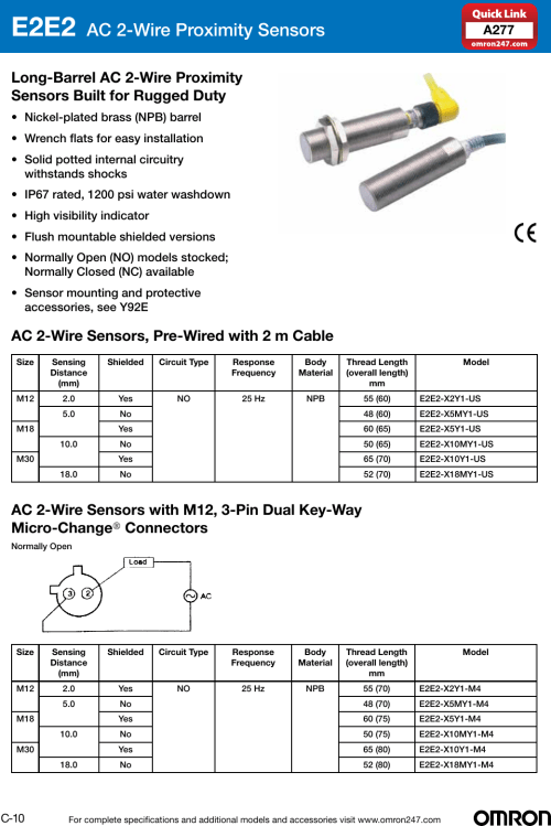 small resolution of omron industrial components solution selection guide 2014 2015 proximity sensor 2wire ac inductive prox switch e2e2ac series