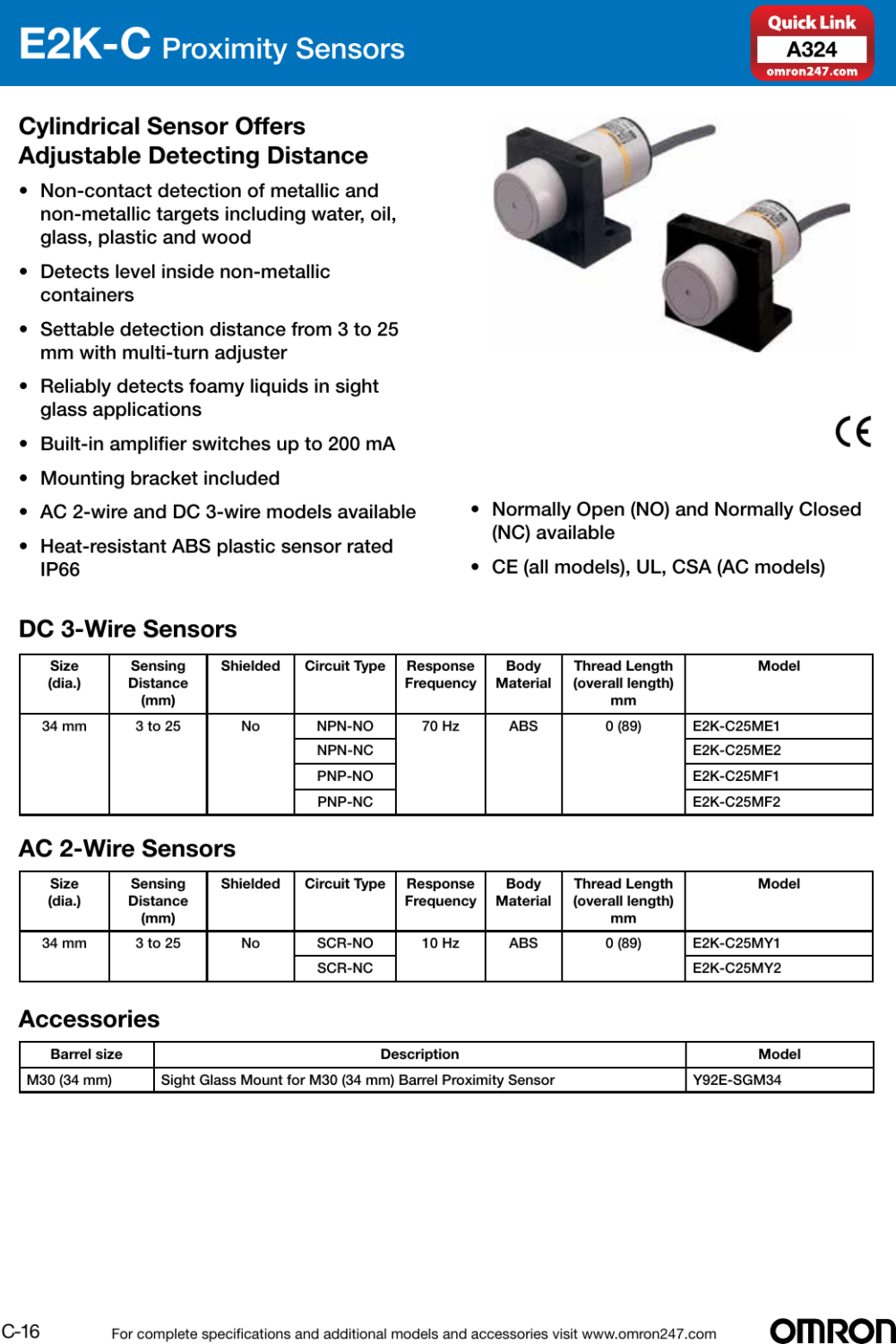 medium resolution of omron industrial components solution selection guide 2014 2015 proximity sensor 2wire ac inductive prox switch e2e2ac series