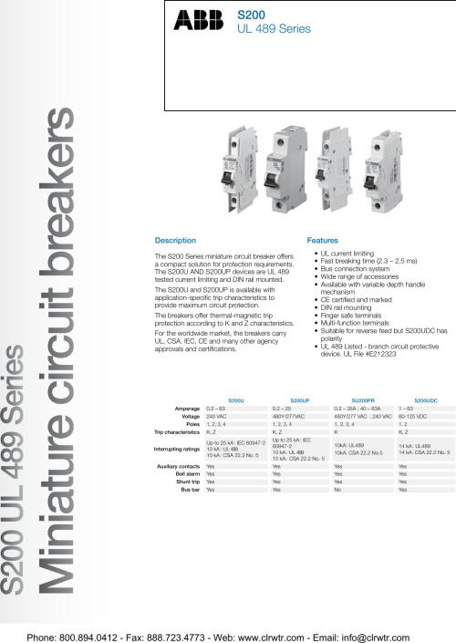 small resolution of  abb s200 ul 489 series miniature circuit breakers vac shunt trip breaker wiring diagram on