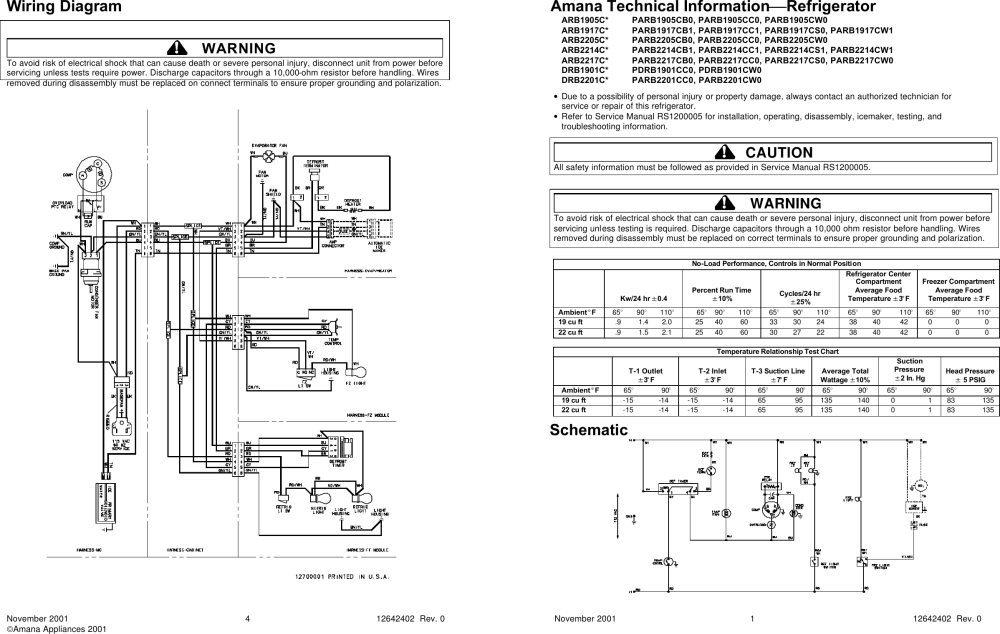 medium resolution of wiring diagram amana technical informationrefrigerator service or
