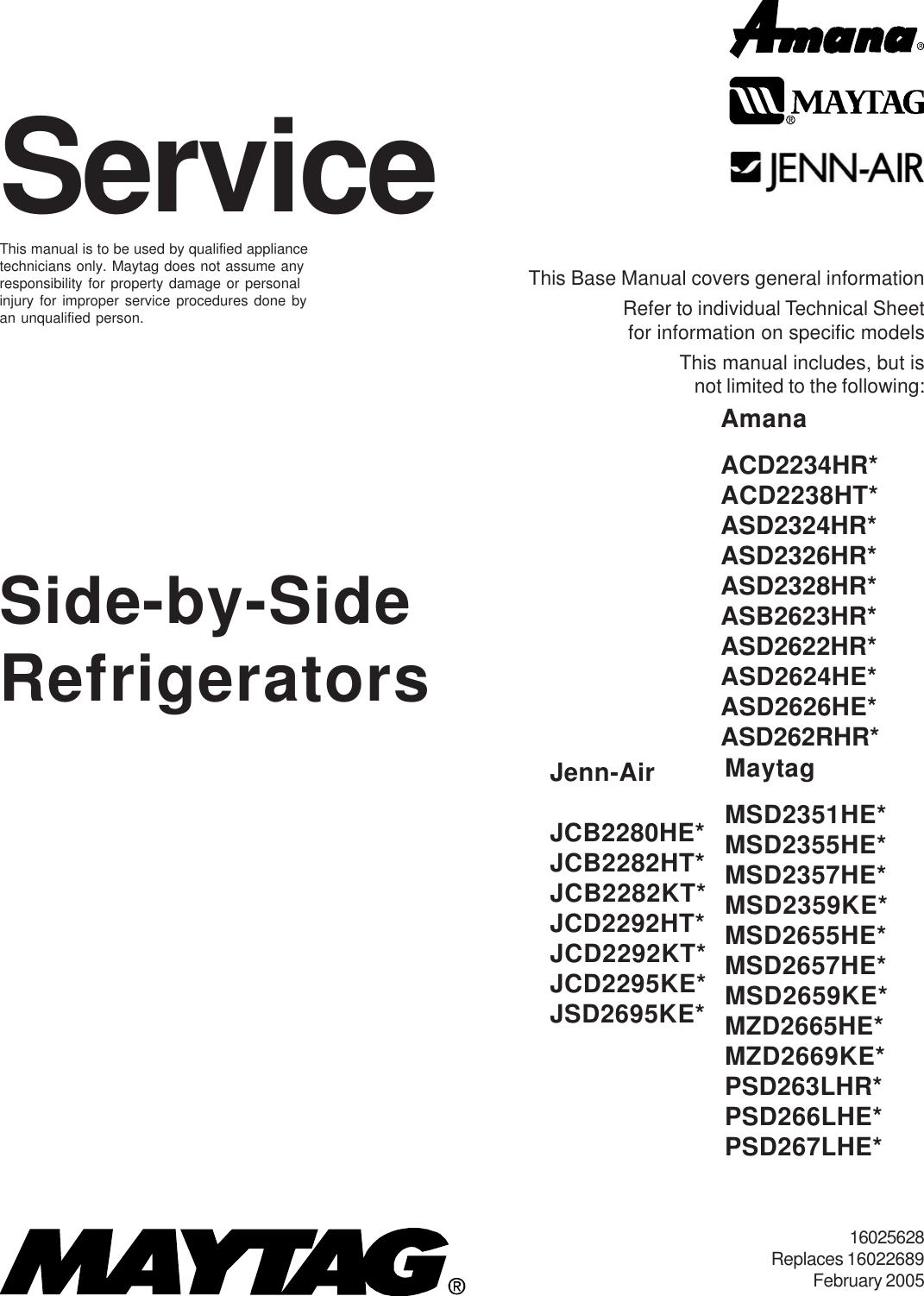 01_cover Maytag Refrigerator MSD2652KEW 16025628