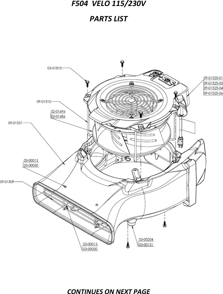 Parts List Velo F504 Tsg Wd