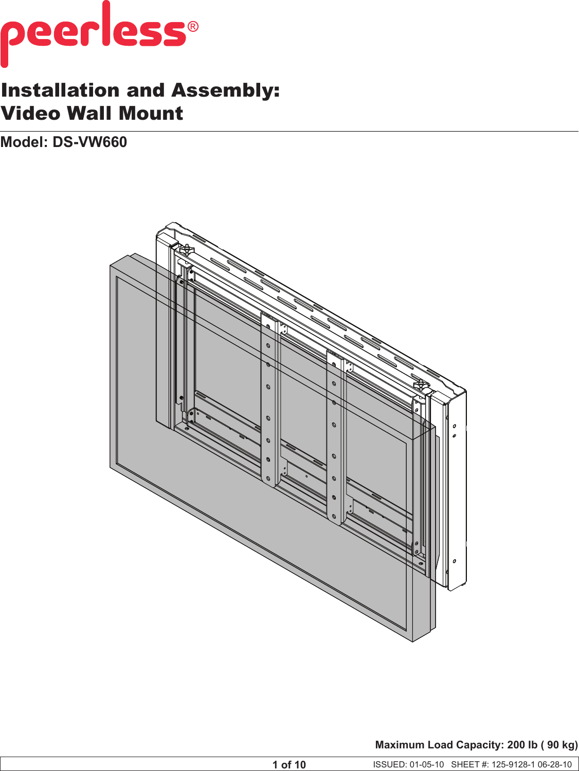 Peerless Industries Video Wall Mounting Solution Ds Vw660