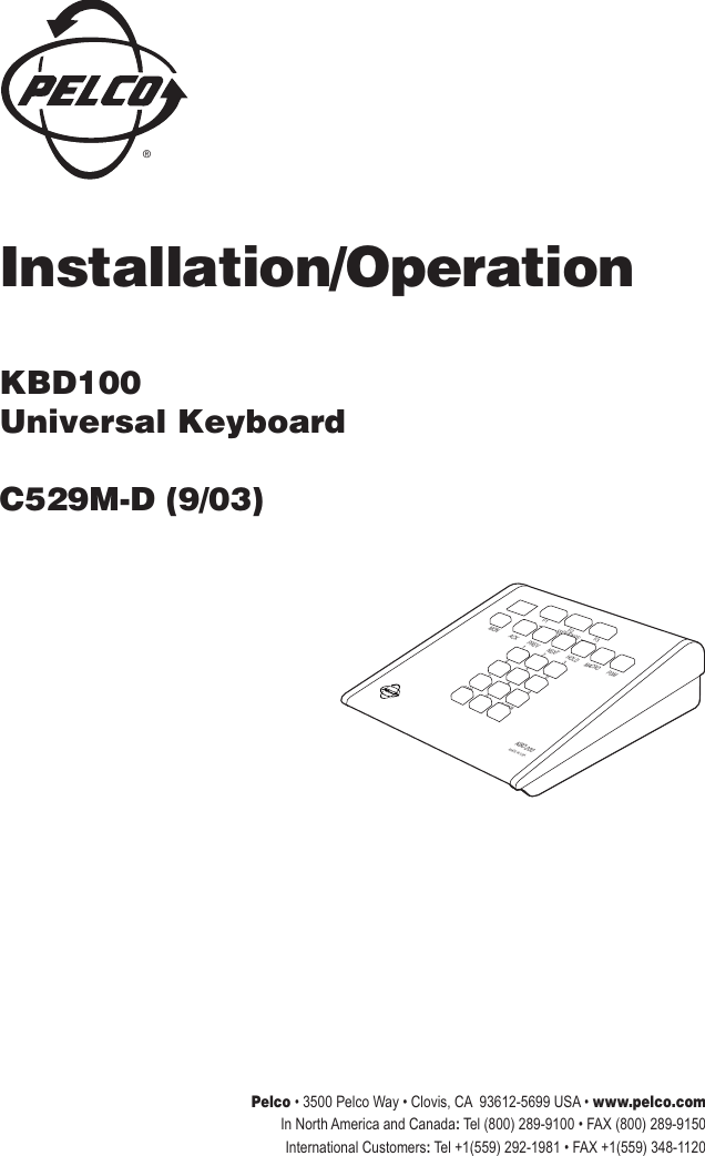 Pelco Kbd100 Universal Keyboard C529M D Users Manual