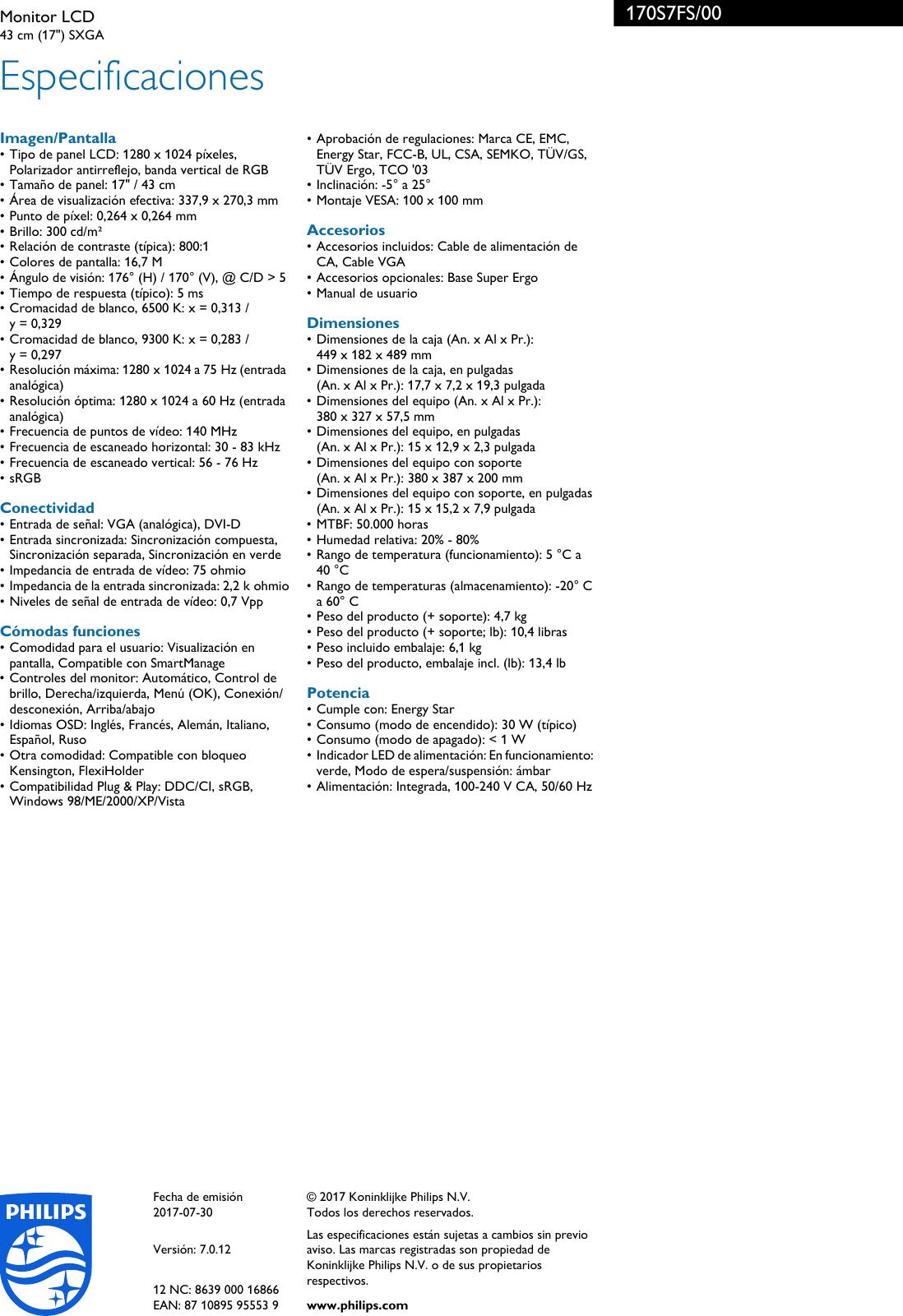 Philips 170S7FS/00 Leaflet 170S7FS_00 Released Spain