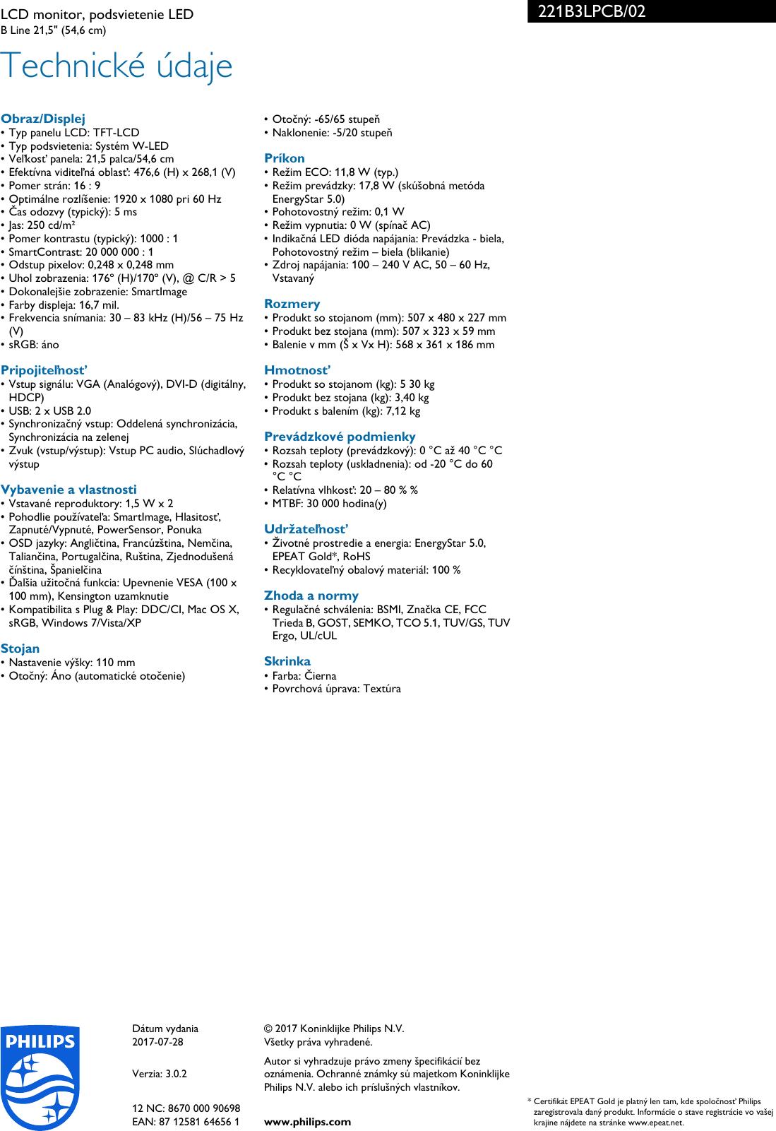 Philips Leaflet 221B3LPCB_02 Released Slovakia (Slovak