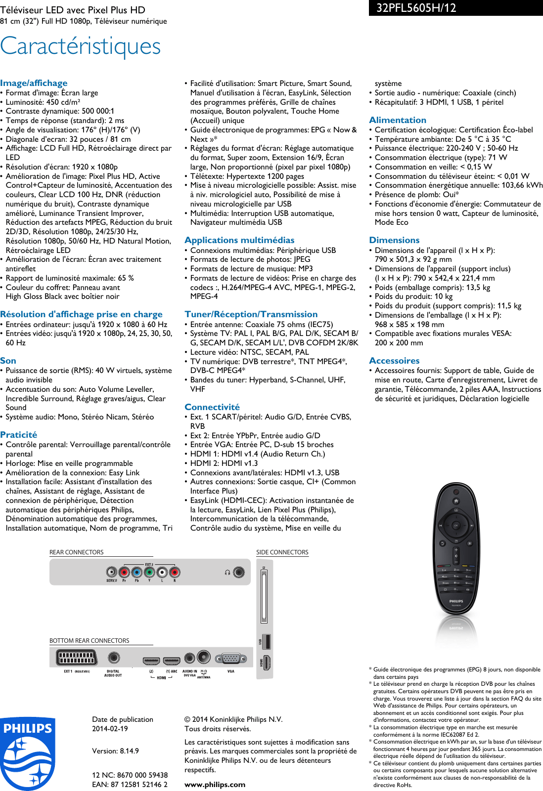 Philips 32PFL5605H/12 Leaflet 32PFL5605H_12 Released