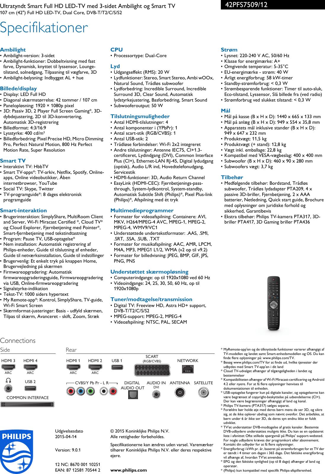 Philips 42PFS7509/12 Ultratyndt Smart Full HD LED TV Med 3