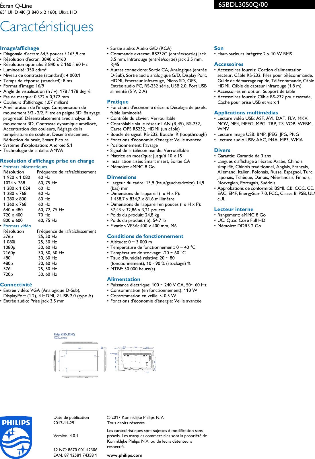Philips 65BDL3050Q/00 Leaflet 65BDL3050Q_00 Released