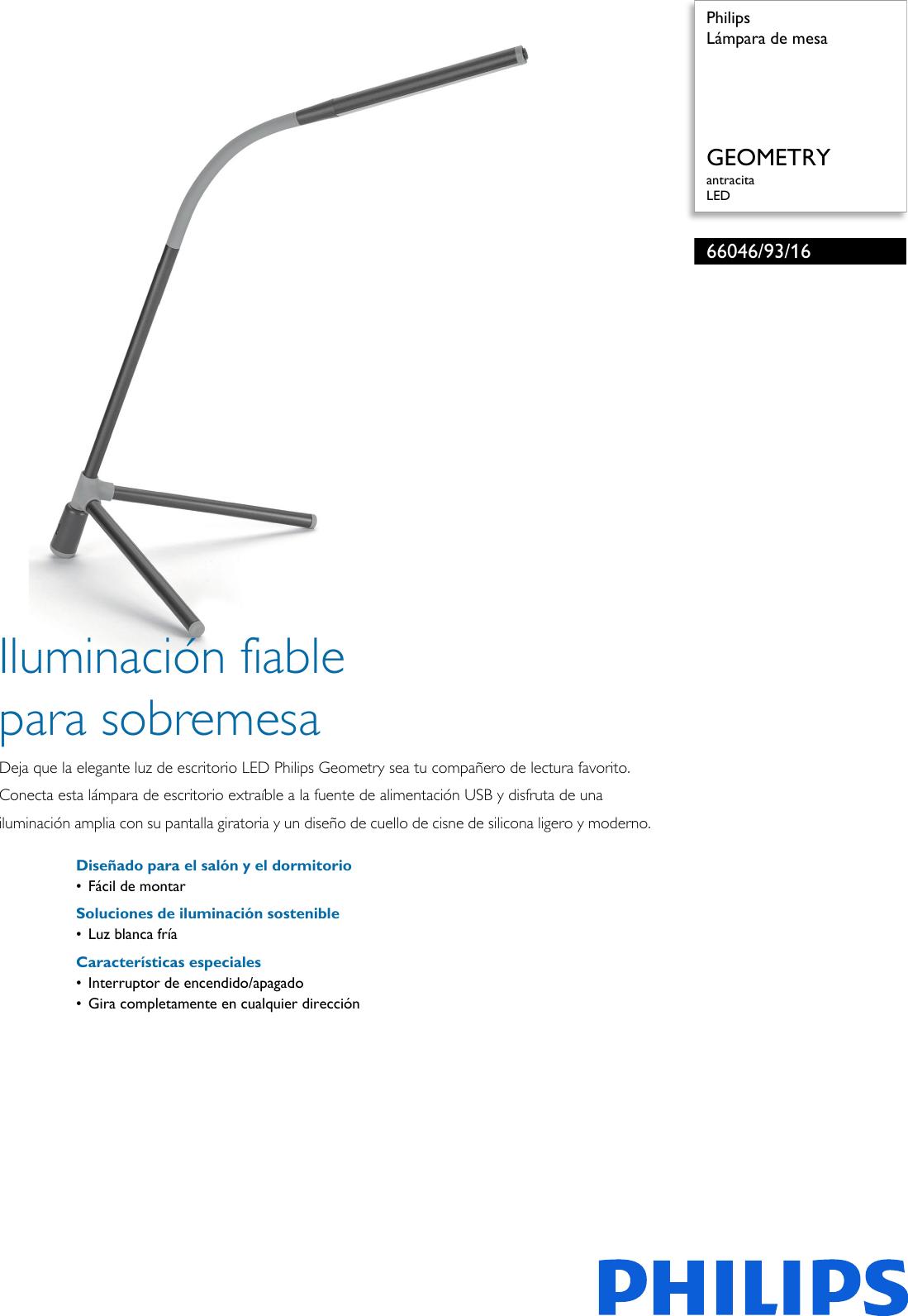 Philips 66046/93/16 660469316 Lámpara De Mesa User Manual