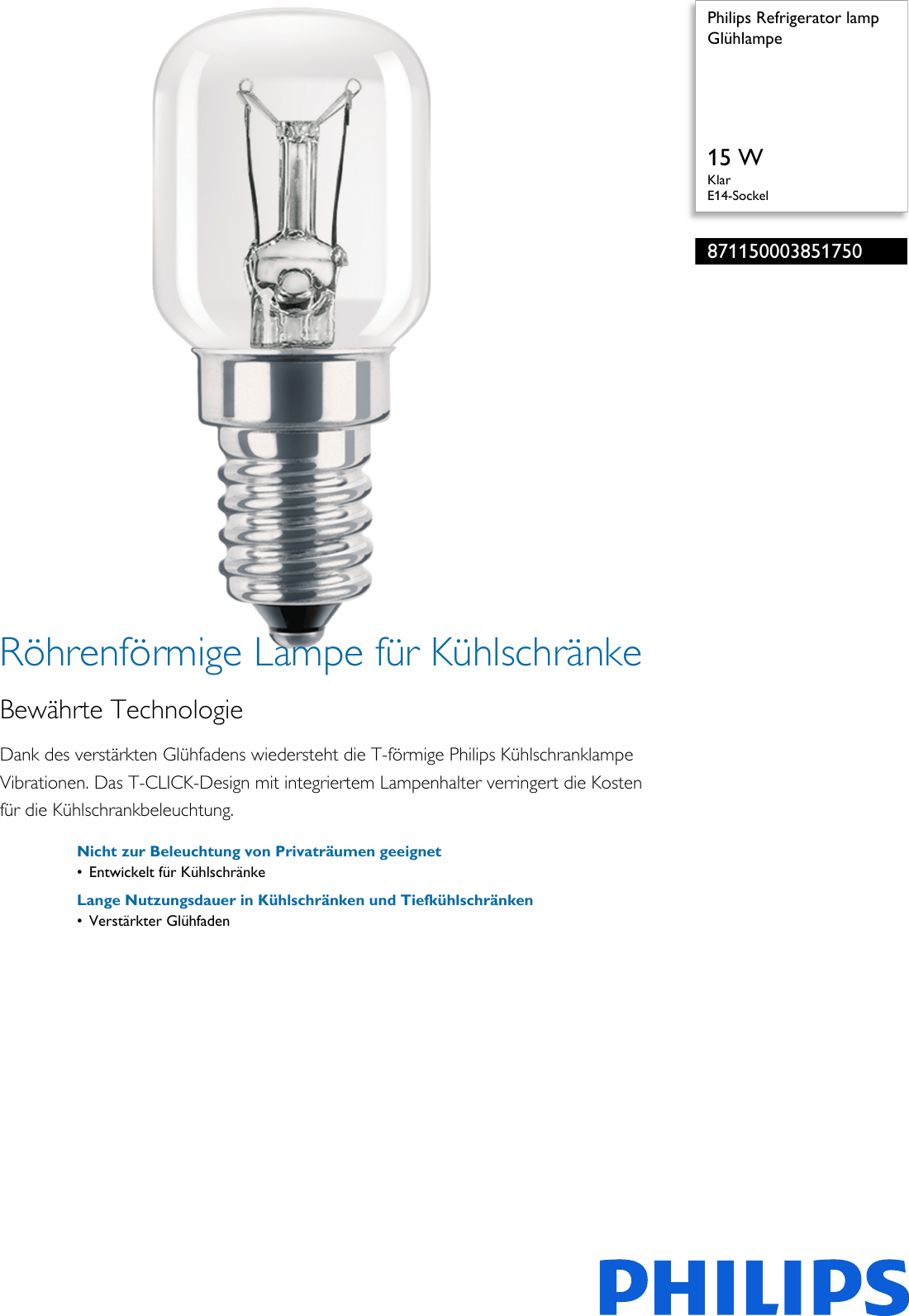 Philips 871150003851750 Glühlampe User Manual Datenblatt