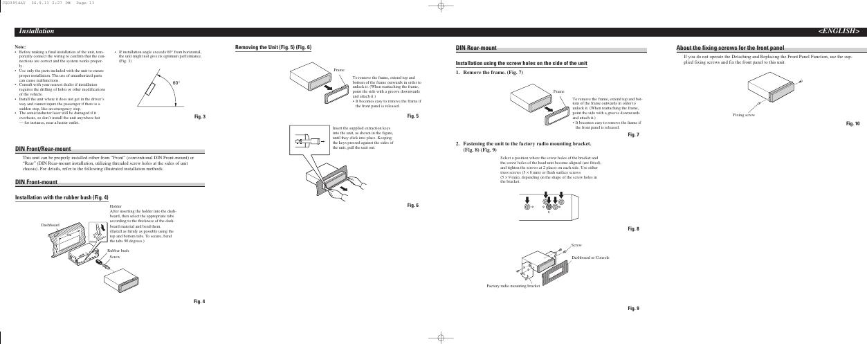 Pioneer Deh P3700Mp Radio Cd Installation Manual