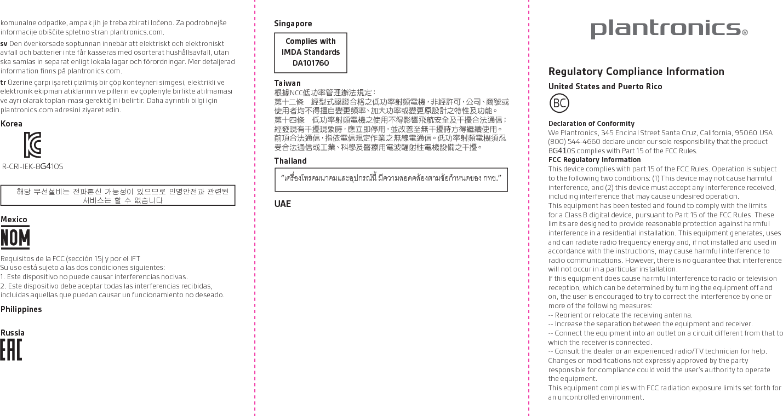 Plantronics BG410S Bluetooth Headset User Manual