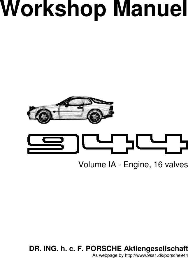 Porsche 944 Users Manual Vol1a