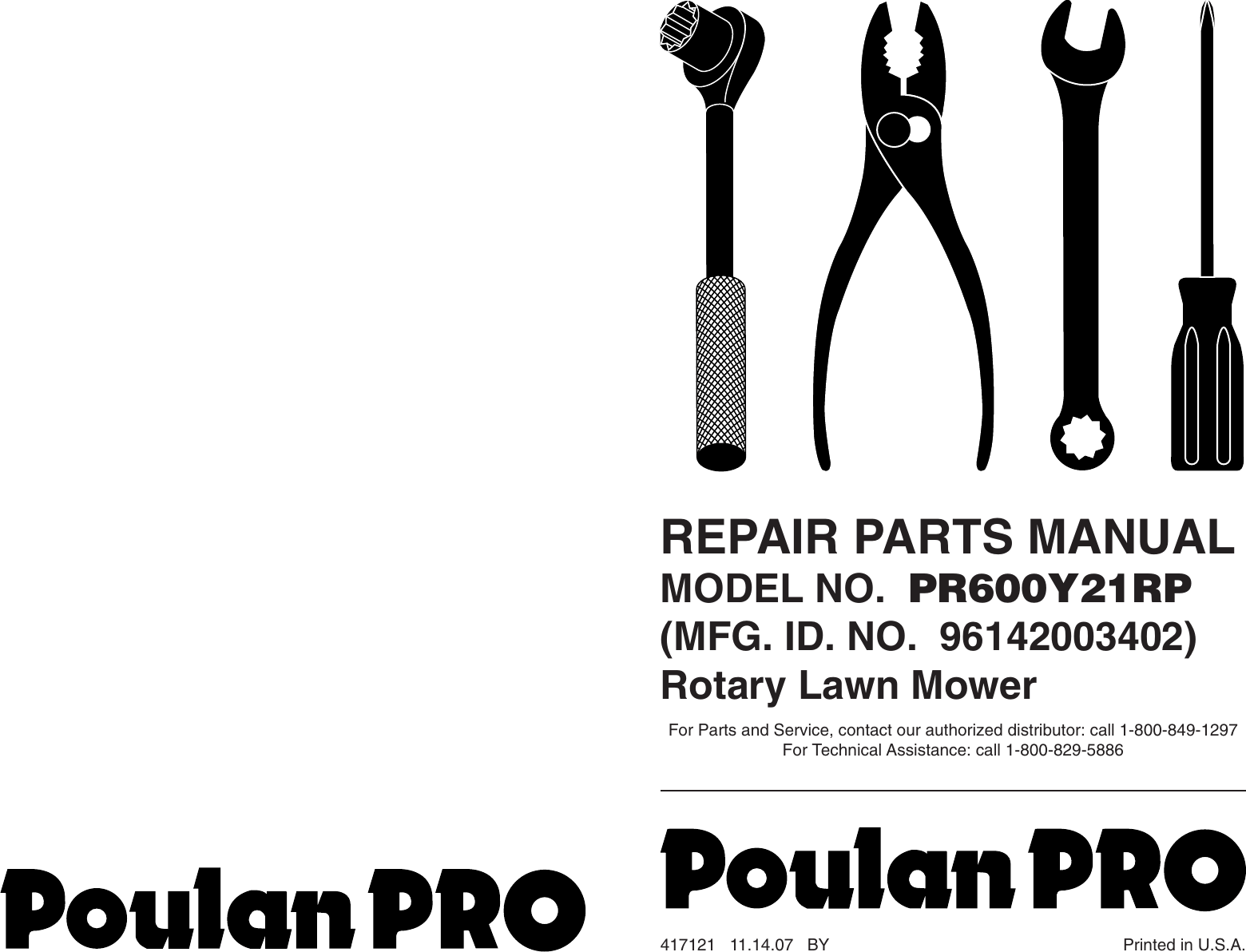 Poulan Pro Lawn Mower Accessory Pr600Y21Rp Users Manual