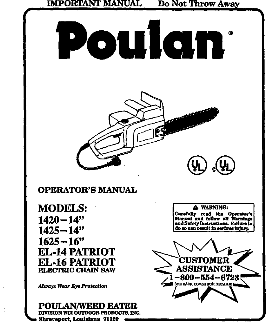 Poulan 1425 TYPE 2 User Manual ELECTRIC CHAINSAW Manuals