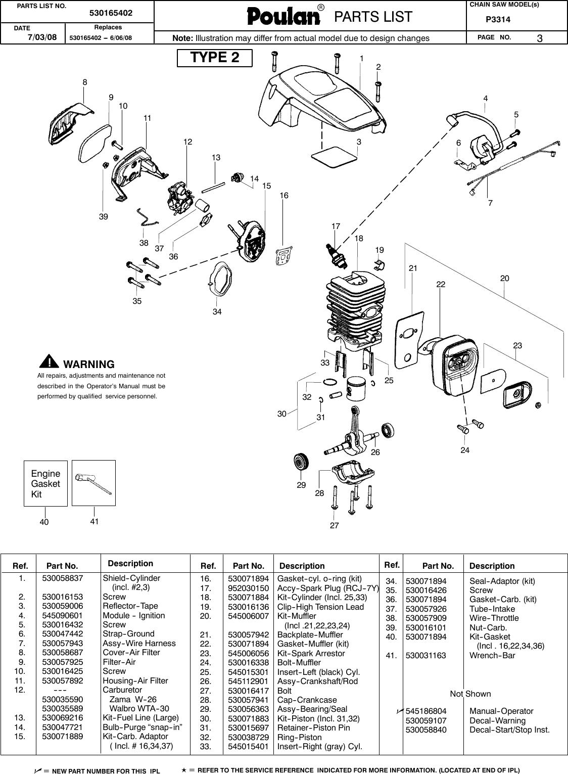 Poulan P3314 Parts Manual IPL,POULAN,P3314,2004,952802026