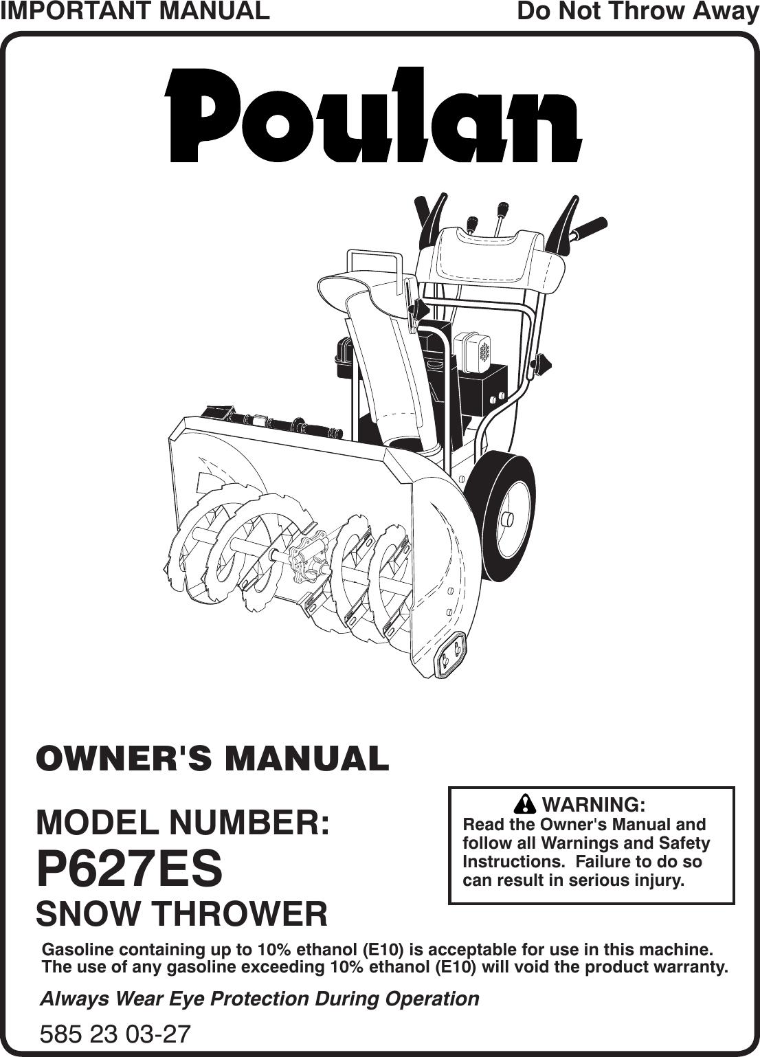Poulan P627Es 96198004402 2013 07 Owners Manual OM, P627ES