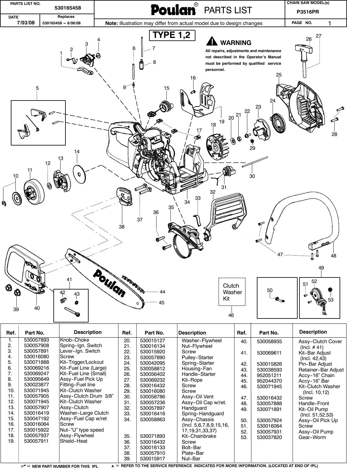 Poulan Pln3516F Parts Manual IPL, P3516PR, 2008 07, CHAIN SAWS