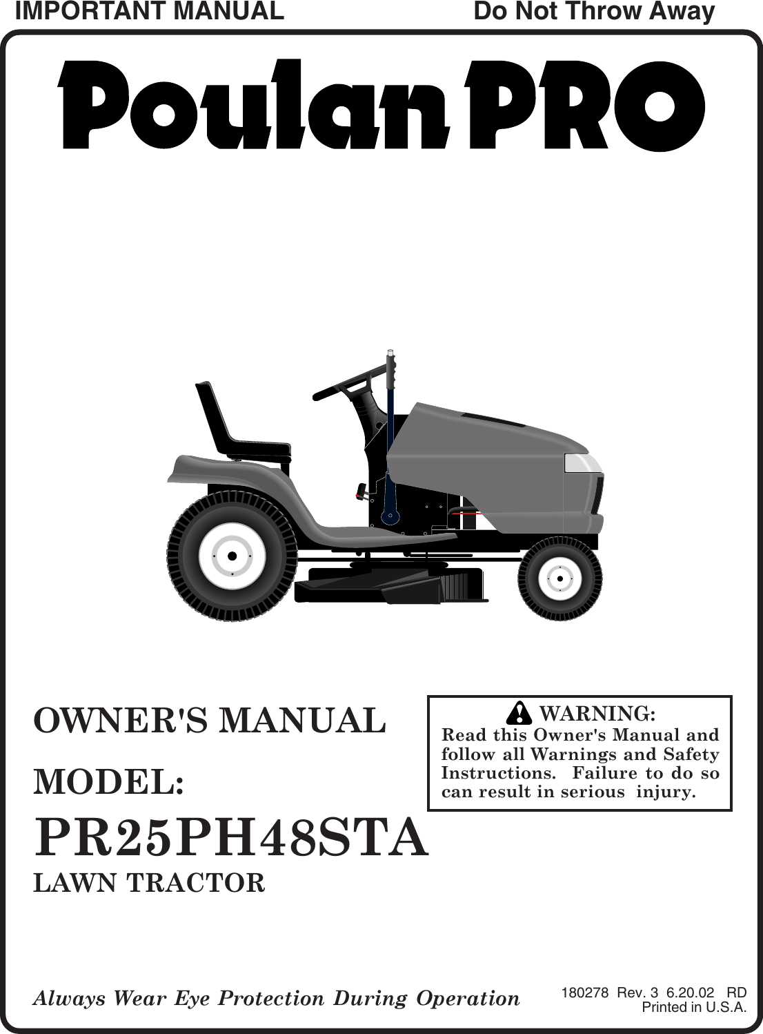 Poulan Pr25Ph48Sta 2002 06 Owners Manual OM, PR25PH48STA