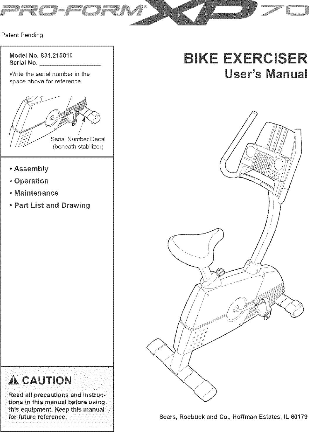 Proform 831215010 User Manual XP70 Manuals And Guides L0502412