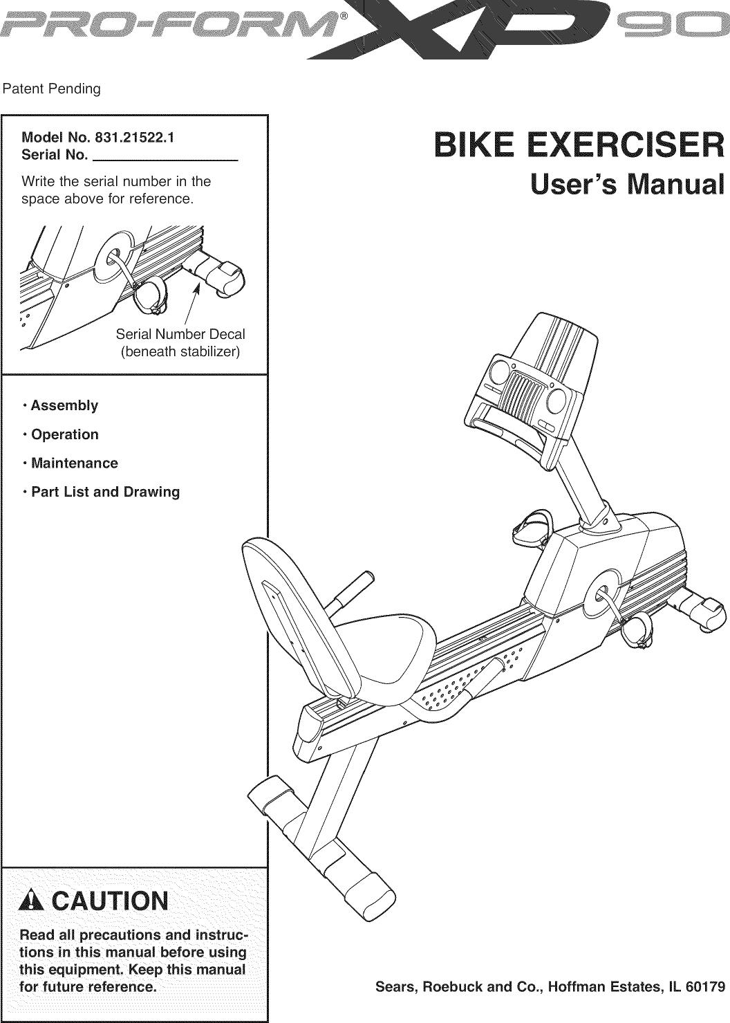 Proform 831215221 User Manual XP90 Manuals And Guides L0811223