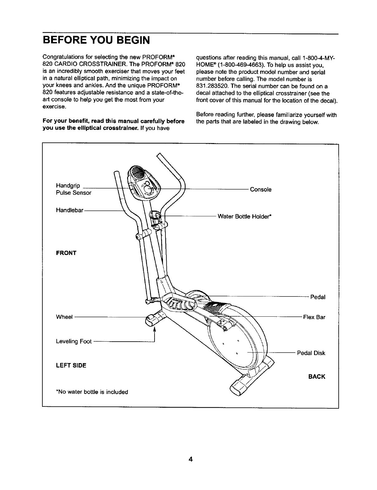 Proform 831283520 User Manual ELLIPTICAL Manuals And