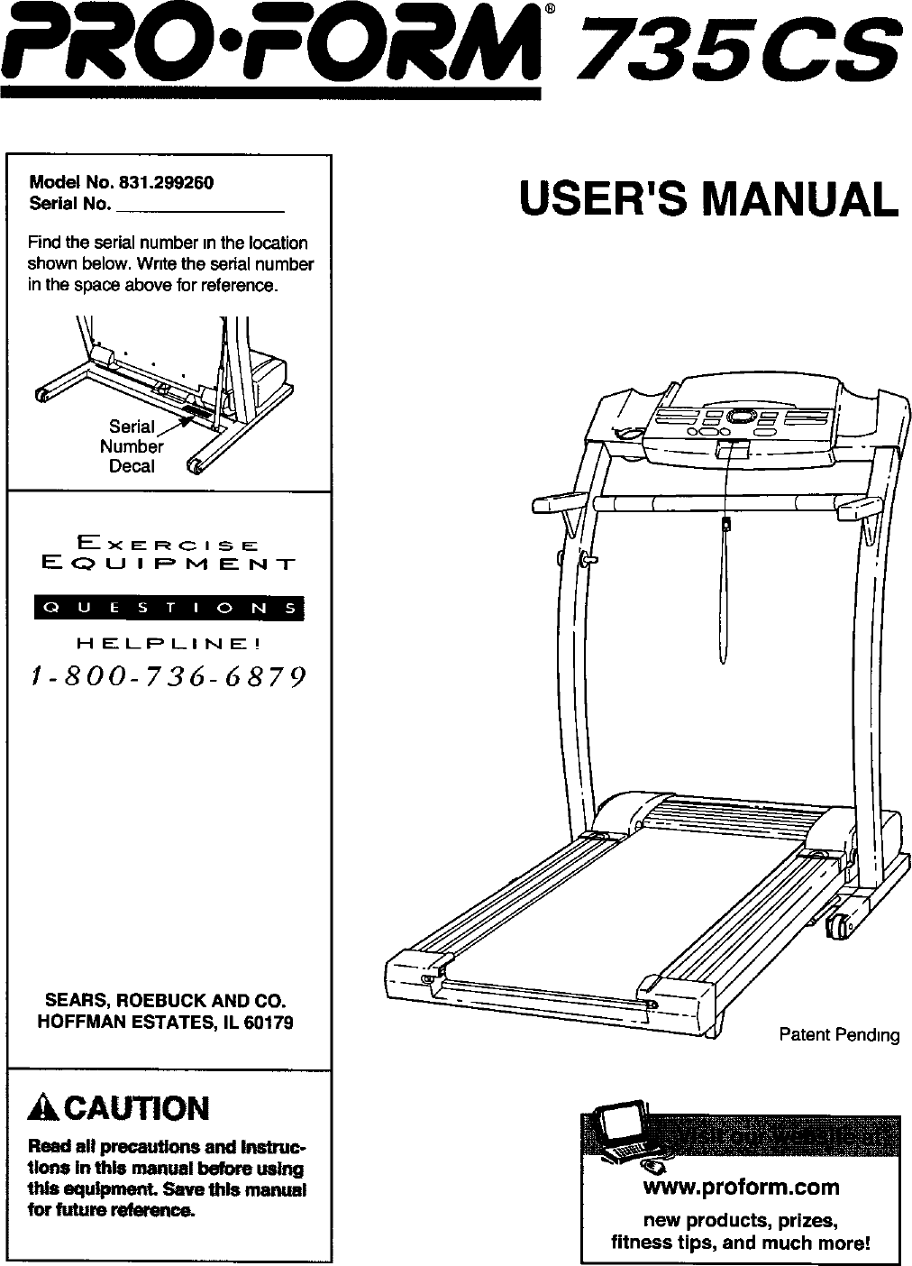 Proform 831299260 User Manual TREADMILL Manuals And Guides