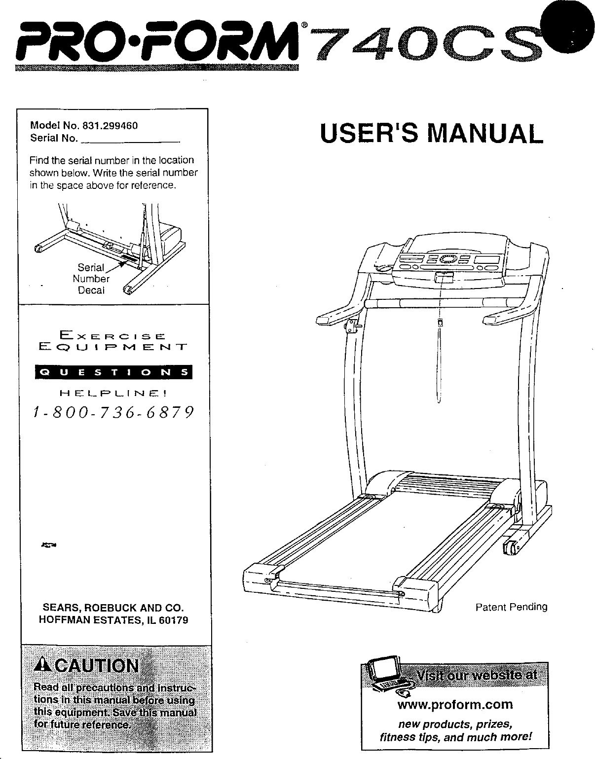 Proform 831299460 User Manual 730CS Manuals And Guides