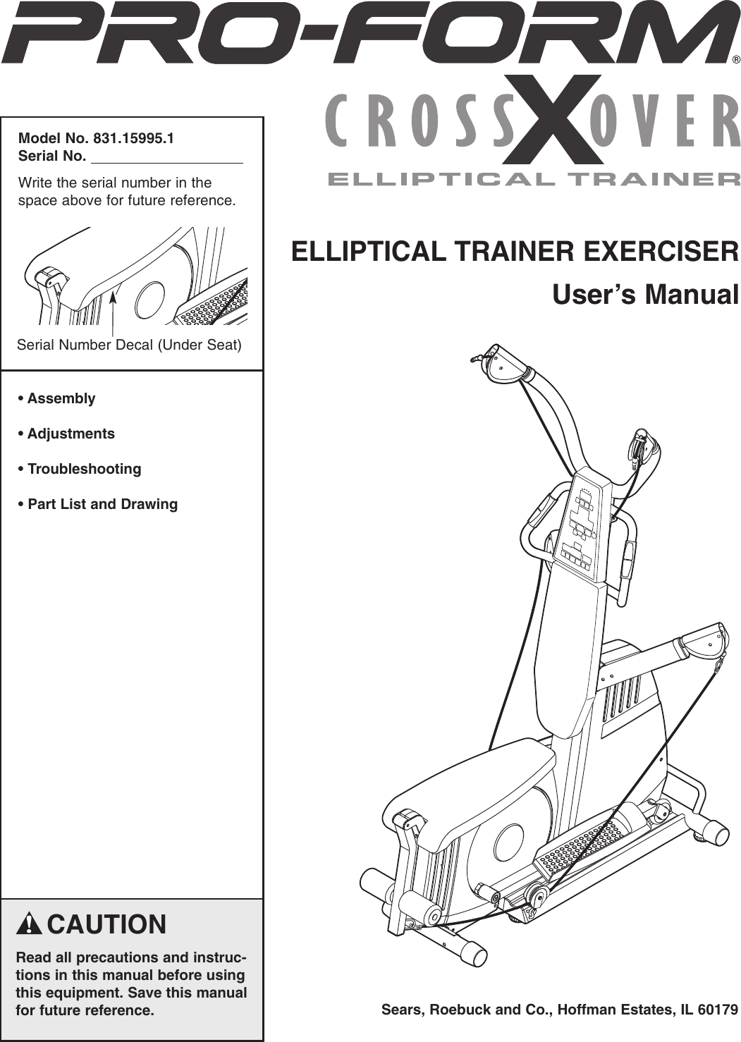 Proform 159951 Crossover Elliptical Trainer Users Manual